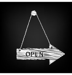 Open sign scribble effect vector
