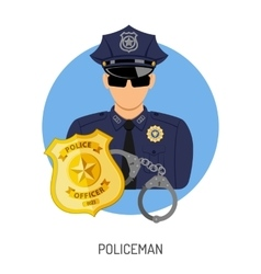 Policeman icon with badge vector