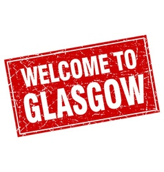 Glasgow red square grunge welcome to stamp vector image