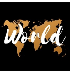 Gold world map on black background doodle vector