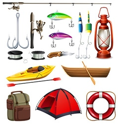 Set of camping and fishing equipment vector