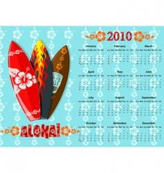 aloha calendar 2010 vector image vector image