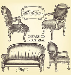 Antique set of hand drawn chairs in vintage style vector