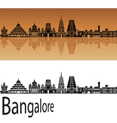 Bangalore skyline in orange vector image