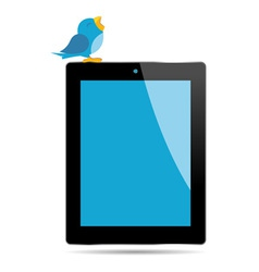 bird tweeting on a tablet vector image vector image