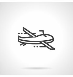 Black line military drone icon vector