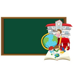 Blackboard and children learning at school vector
