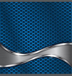 blue metal perforated background with steel wave vector image vector image