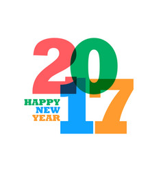 colorful 2017 happy new year text on white vector image vector image