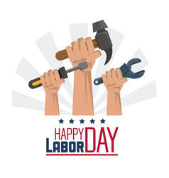 Colorful poster of happy labor day with hands with vector