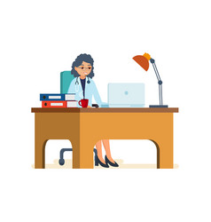 Doctor working in his office behind computer vector