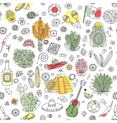 Doodles seamless pattern of Mexico with imitation vector image