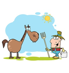 Farmer With Horse vector image
