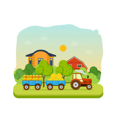 farmland village with gardens greenery hay vector image vector image