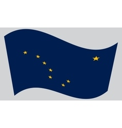 Flag of alaska waving on gray background vector
