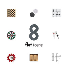 Flat icon entertainment set of chequer guess vector