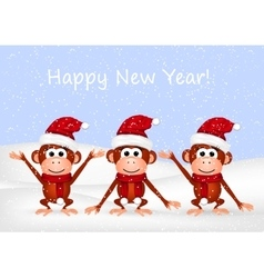 Funny monkeys on snow background vector image vector image
