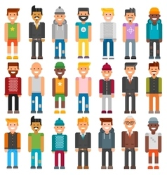 Group cartoon characters people different vector