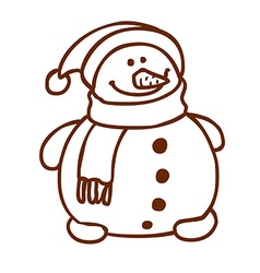 Hand Drawn Happy Snowman vector image vector image