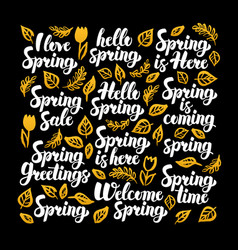 Hello spring calligraphy design vector