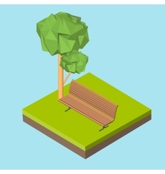 Isometric 3d icon pictograms bench on the grass vector