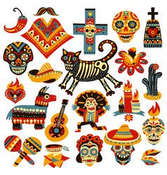 Mexican holiday day of dead set vector