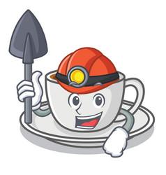 Miner coffee character cartoon style vector