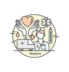 Modern color thin line art design medicine and vector