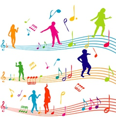 Music note with kids silhouettes dancing vector image vector image