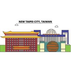 new taipei city taiwan outline skyline taiwanese vector image vector image