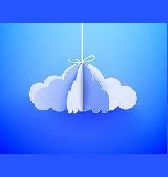 Paper cloud in origami style on the sky background vector