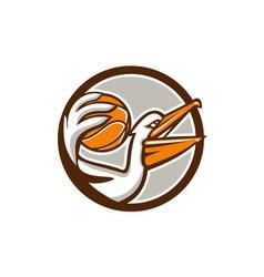Pelican dunking basketball circle retro vector