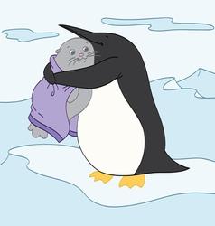 Penguin Hug vector image