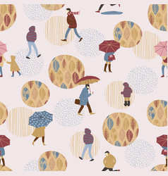 People in the rain autumn vector