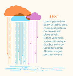 Rain background with stylish flat vector