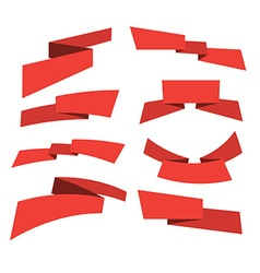 red banner set vector image vector image