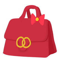 Red lady handbag icon cartoon style vector