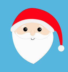 santa claus head face big beard moustaches white vector image