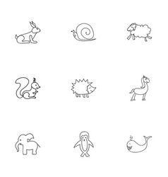 Set of 9 editable animal icons includes symbols vector