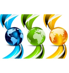 Set of banners with globes vector image vector image