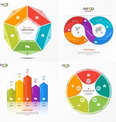 Set of infographic templates with 5 options vector