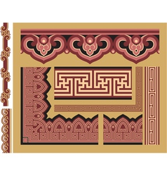 Set of oriental borders and frames vector