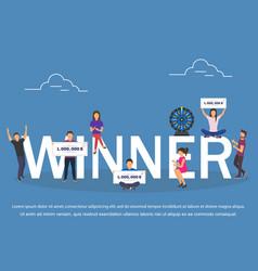 winner concept set with winning combinations flat vector image