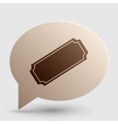 Ticket sign  brown gradient icon on vector