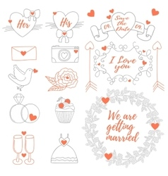 Weddings banner tag icons ribbons set vector