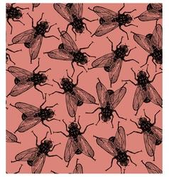 Seamless flies pattern in vintage engraved vector image