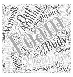 Memory foam mattress buying guide word cloud vector