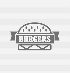 Burgers logo or badge concept with ribbon gray on vector
