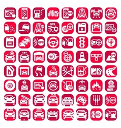 Big color auto icons set vector