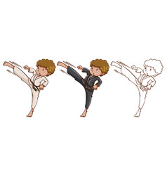 Doodle character for martial arts vector